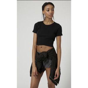 Topshop Black Short Sleeve Sheer/Ribbed Top Size 6
